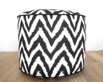 "Black pouf ottoman 18"" round for living room seating, black and white floor cushion, chevron bean bag gift idea for him"