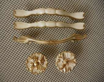 5 Piece Vintage Brass Painted Pulls
