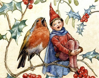 Wooden jigsaw puzzle. Elf and Robin Singing. Fairytale vintage illustration. Wood, handcut, handcrafted, collectible. Bella Puzzles.