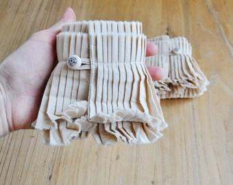 Beige hand crafted cuffs/Detachable cuffs/Couture cuffs/Ruffle detail cuffs/ Ruffled cuffs/Rustic wedding/ Bohemian cuff/Hand pleated cuffs/