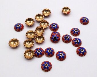 10mm Tibetan bead caps, Tibetan beads, Flower Beads, Flower bead caps, 2mm hole bead caps, Tibetan spacers, Findings, Red and Blue beads