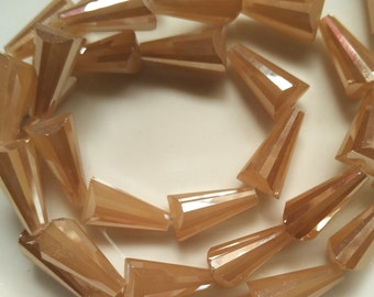 19mm Cone Shaped Light Brown Glass Beads Crystal Beads Faceted Crystal Beads AB Glass AB Crystal