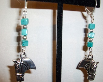 Turquoise Square Cube  Earrings Horse Head Charm    Silver Hooks   Free Shipping in USA