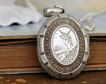 VINTAGE FIND antique sterling silver container locket necklace, thick chain, 1900s antique jewelry, hand engraved locket necklace