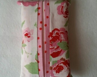 Pocket Tissue Holder handmade with Cath Kidston ROSALI fabric - White with Roses and Pink Spotty