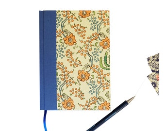 Art Nouveau 2018 weekly planner A6, calendar book, hardbound, 1 week on 2 pages, blue, orang