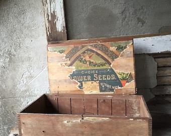 Choice flower seed box 1900s detroit mi wooden box