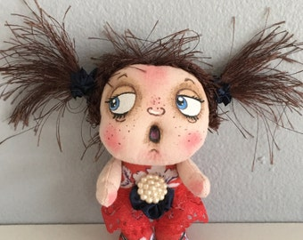 """OOAK Artist Miniature Cloth Pocket Doll baby girl """"Uh Oh ..Jo"""" only 3 1/2"""" high!"""