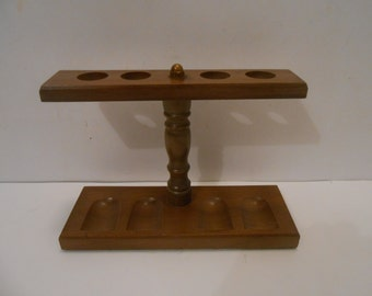 Mid Century Pipe Holder in a Maple Wood with 4 Slots