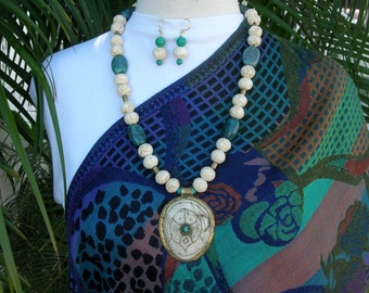 Nagaland Conch Shell 2-Fish Pendant, Real Turquoise, Brass & Patterned Bone Beads, Statement Necklace Set by SandraDesigns