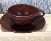 Vintage Roseville Pottery Raymor Cup and Saucer Set, Autumn Brown, Dark Brown, Mid Century Retro Dinnerware, Art Pottery, Design Ben Seibel