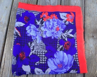 Blue and Red Floral Vintage Scarf