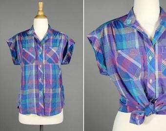 Vintage Summer Plaid Button Up Shirt- Purple Blue Plaid Summer Crop Top Blouse- Size Medium or Large M L