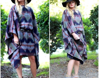 Fall Hippie Aztec Poncho dress, Bohemian gypsy Stevie nicks style Music festival clothing, Mexicali Boho clothes, True rebel clothing