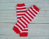 Baby Leg Warmers Red and White Stripe Baby Girl Toddler