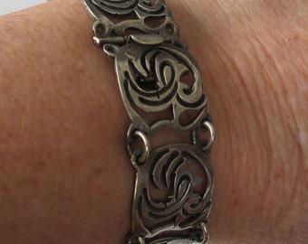 Vintage Mexican Sterling Link  Bracelet