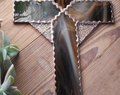 Stained Glass Cross Crucifix Wood Look Copper