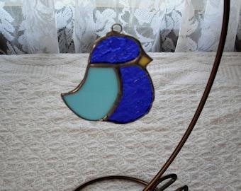 StainedGlass Blue Bird, Bluebird of Happiness, Glass Bird