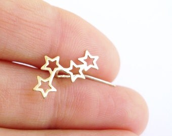 14K Gold Star Ear Climber Stud Earring. Eco Friendly Gold Stud. One Shiny Gold Ear climber. Handmade Limited Edition. Recycled Solid Gold.