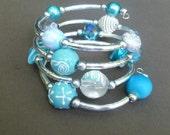 Handmade Beaded Bracelet- Handmade memory wire bracelet - Wrap around bracelet- noodle bracelet -cuff bracelet