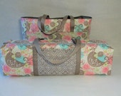 Cricut Explore Air Carrying Case with Laptop / Accessory Bag / Combo Set / Cricut Expressions 2 Tote / Grey and Pink Partridge Bird Print