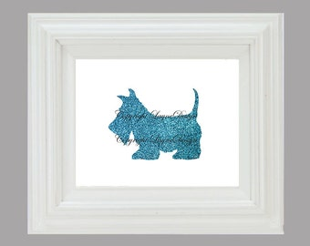Blue Glitter Scottish Terrier Instant Download Art Print Wall Art Typography Poster