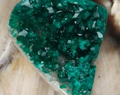 Beautiful Deep Green Dioptase Drusy Druzy on Matrix Cabochon