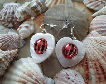 White Shell Heart Earrings