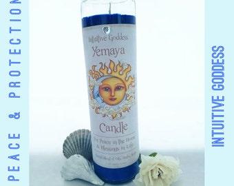 Yemeya Yemaya Yemanja Madre De Agua Fixed Spell Candle /  Peace Fertility Protection / Full Moon
