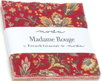 """Madame Rouge Charm Pack by French General for Moda Fabrics 13770PP 42 5"""" Fabric Squares"""