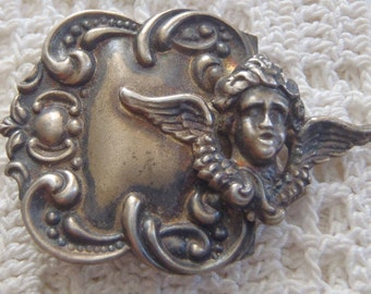 Vintage Buckle Repousse Sterling Silver Winged Cherub