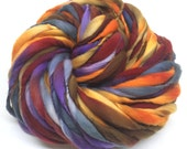 Thick and thin super bulky yarn in hand dyed merino wool - 80 yards and 5.3 ounces, 150 grams