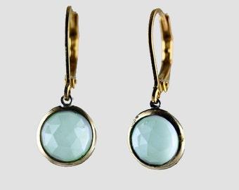 Chalcedony earrings, Aqua Chalcedony earrings, Chalcedony earring,Drop earring, gemstone earring