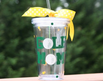 Golf Mom gift 16 oz Insulated cup with golf balls and polka dots