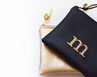 Sale Personalized Gift for Her Monogram Clutch Bridesmaid Gift Set Zipper Pouch Metallic Initial Wedding Faux Leather