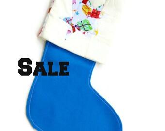 Christmas stocking, blue felt stocking, holiday stocking, handmade stocking, quilted stocking, country cottage chic, kids stocking