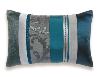 Teal Blue Silver Grey Lumbar Pillow Case 12 x 18 in IRMA DESIGN Limited Edition