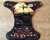 Spooky ghost and jackolanterns halloween diaper, one size pocket diaper AWJ lined, organic bamboo insert