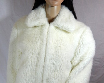 1960's Winter White Wedding FAUX FUR Crop JACKET One of a Kind Hand Taylored size medium/ large