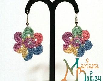 Crochet Colorful flower Earrings