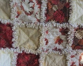Fall autumn rag quilt shabby chic leaves throw baby