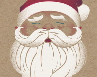 """Old St. Nick Holiday Print - 8"""" x 10"""" Art Print on 100# French Speckletone Kraft Cover, Vintage-Inspired"""