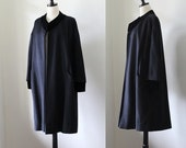 Vintage Black Opera Coat 1950s Swing Coat  50s Coat Black Dress Coat 1950s Wool Coat Womens Dress Coat Velvet Trim Size Medium Large
