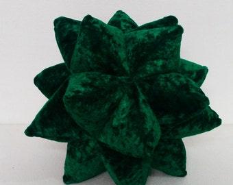 Christmas emerald green  origami twinkle star pillow-nursery decor-triangle patchwork pillow-velvet cushion-fun pillow -modern decor pillow