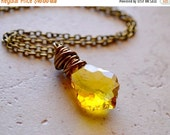 25% OFF SALE Simple Yellow Wire Wrapped Necklace / Sunny Citrine Yellow Swarovski Crystal Pendant on Antiqued Brass Chain