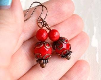 Dark red earrings Victorian earrings Red Vintage jewelry Bohemian earrings Boho jewelry Victorian jewelry Rustic earrings Vintage jewelry