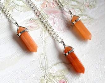 SALE Red aventurine necklace Orange point necklace Red aventurine jewelry Pendant necklace Gemsones Mineral necklace birthstone necklace