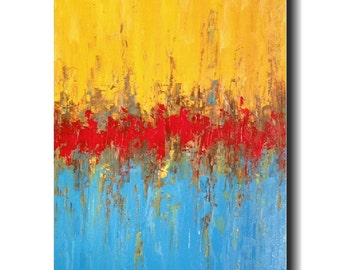 Original Large Abstract painting - 24 X 48 -by Artist JMJartstudio- rise above-Wall art  -Oil painting - Textured custom