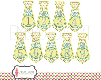 Tie applique embroidery design. FULL SET 1- 9 ! Cute tie birthday embroidery. Fun applique in 4 sizes. Great birthday applique design.