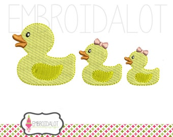 Rubber duck machine embroidery design. Mom and baby embroidery, 3 sizes, filled stitch. Cute duck embroidery.